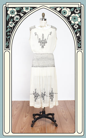SOLD -- 1920s Embroidered Cotton Peasant Dress with Smocked Hips & Shoulders