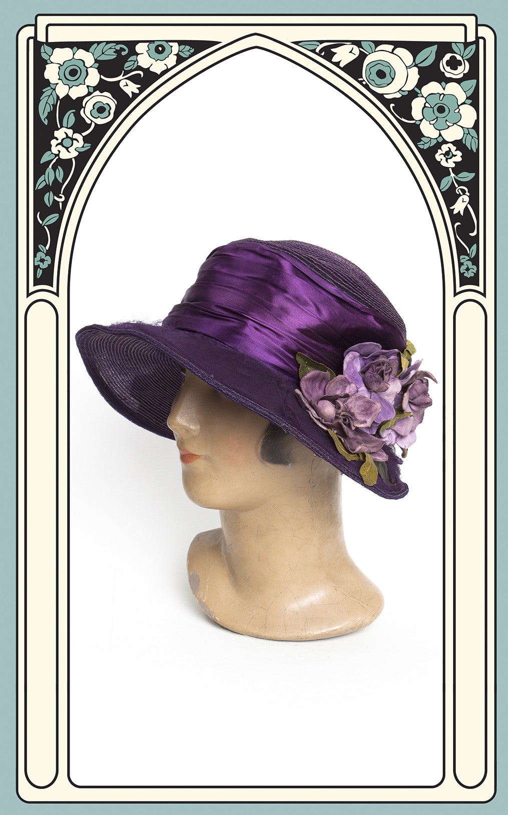 SOLD -- Early 1920s Carson Pirie Scott & Co. Purple Braided Horsehair Wide Brim Cloche with Silk Ribbon & Hand Painted Flowers