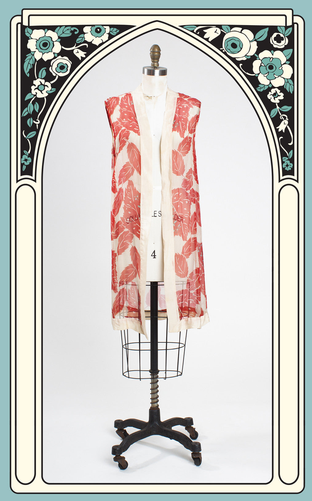 SOLD -- 1920s Red Patterned Silk Chiffon Sleeveless Robe/Jacket