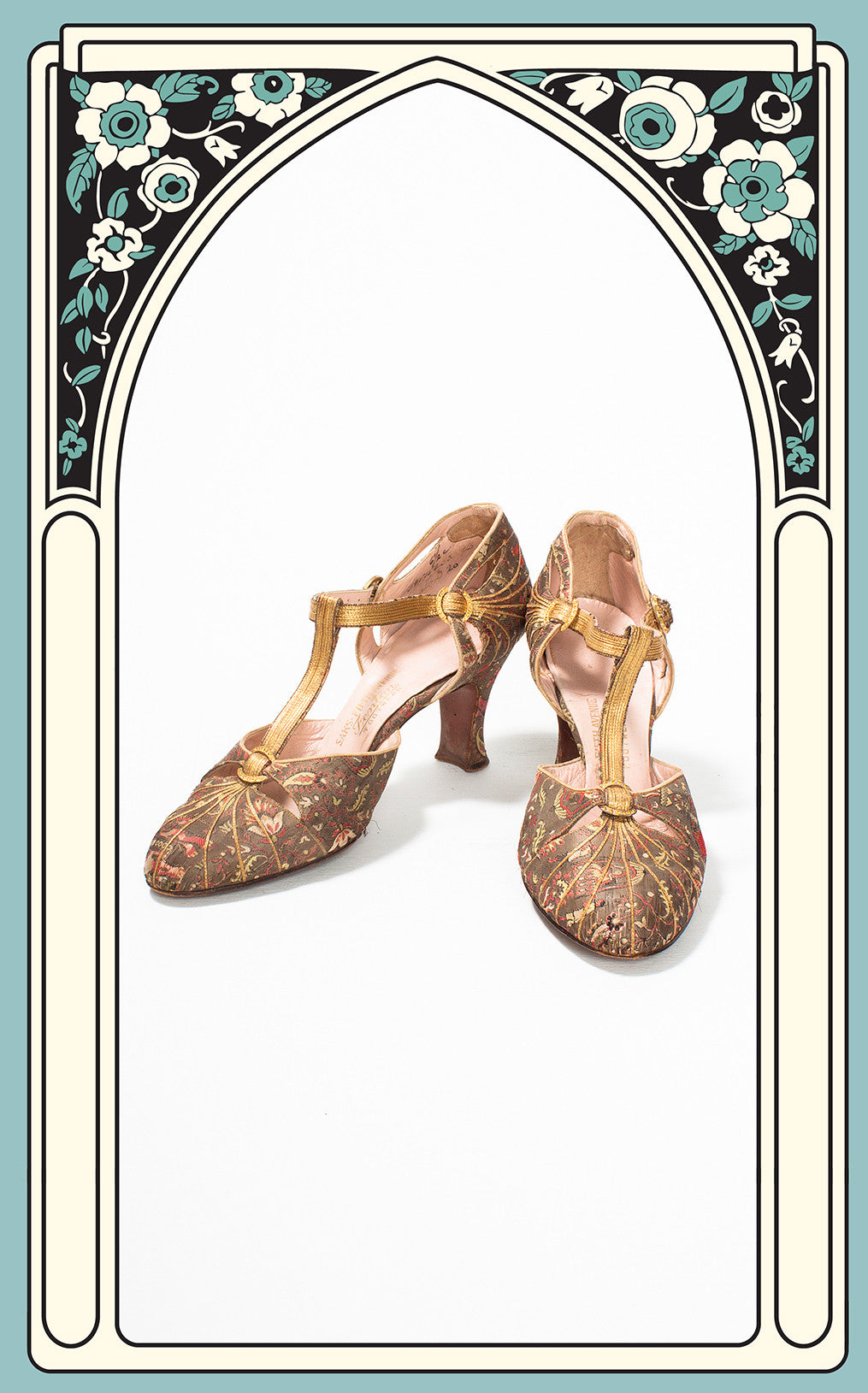 RESERVED -- 1925 Fenton Footwear for Saks Fifth Avenue India-Inspired Novelty Print Silk Brocade & Gold Lamé Evening Shoes