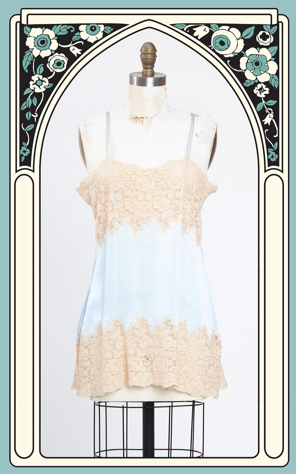 SOLD -- 1920s Baby Blue Silk and Ecru Lace Teddy