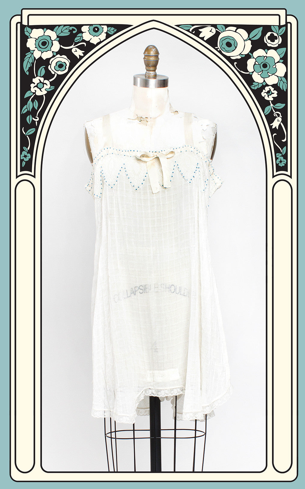 1920s Woven Cotton & Lace Step-in