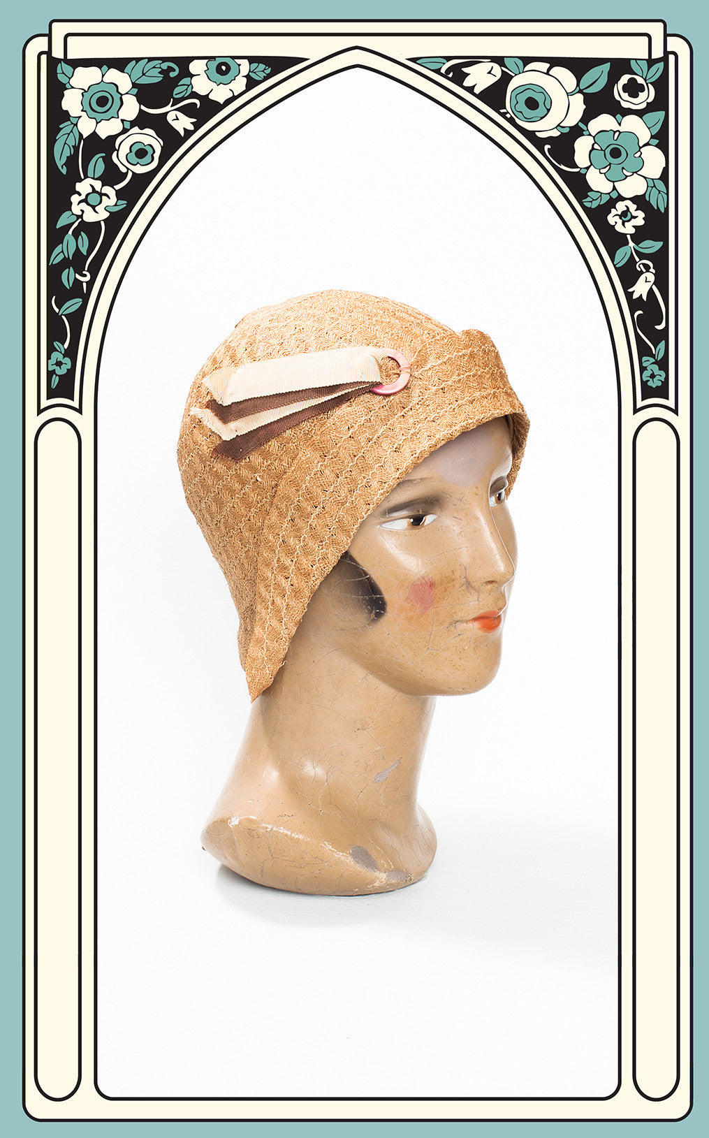 SOLD -- 1920s Braided Straw Cloche with Ivory & Brown Grosgrain Accents