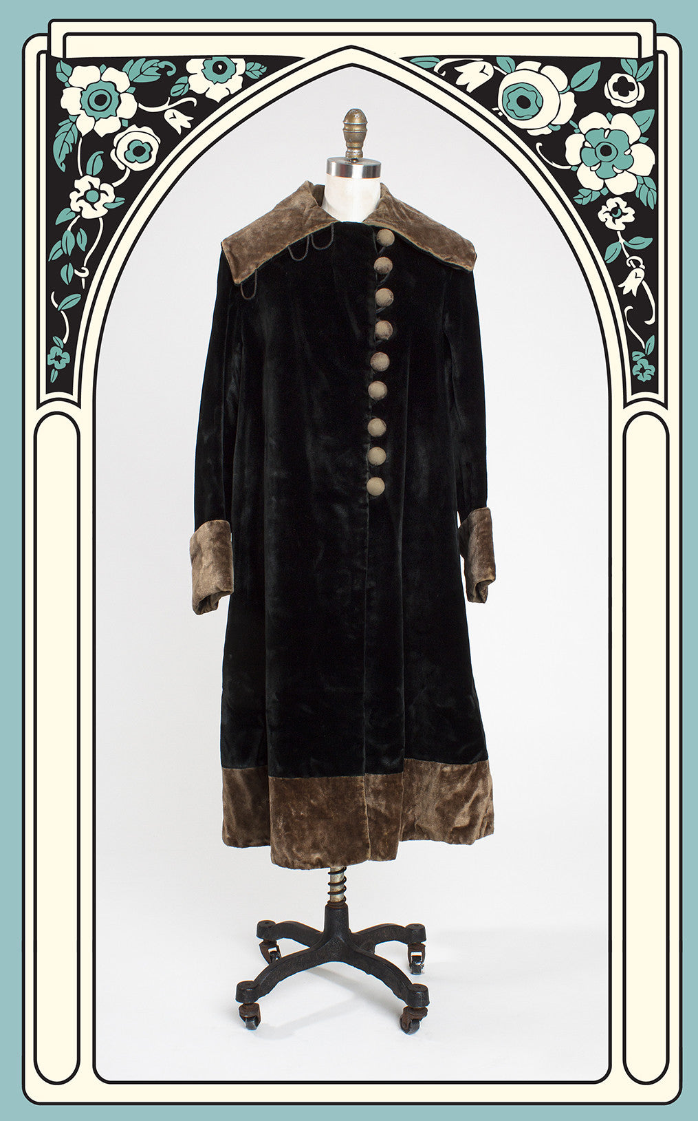 SOLD -- 1910s Edwardian Sealette and Velour Coat