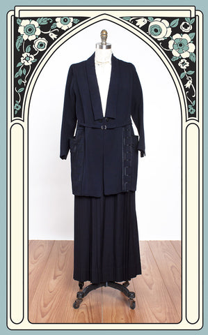 1920s Navy Wool Walking Suit with Black Soutache Design