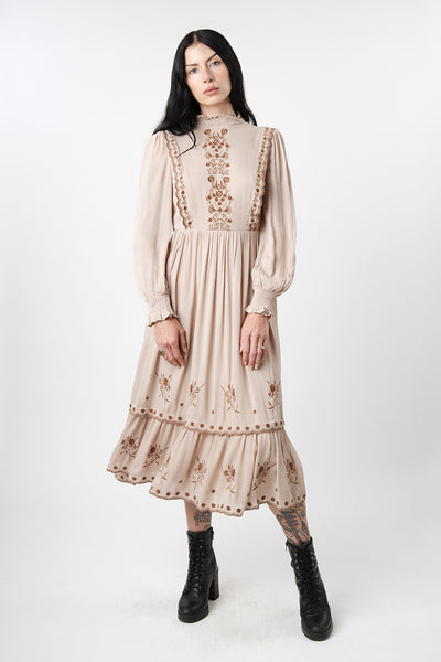 1930s Style Embroidered Folklore Mock Neck Midi Dress