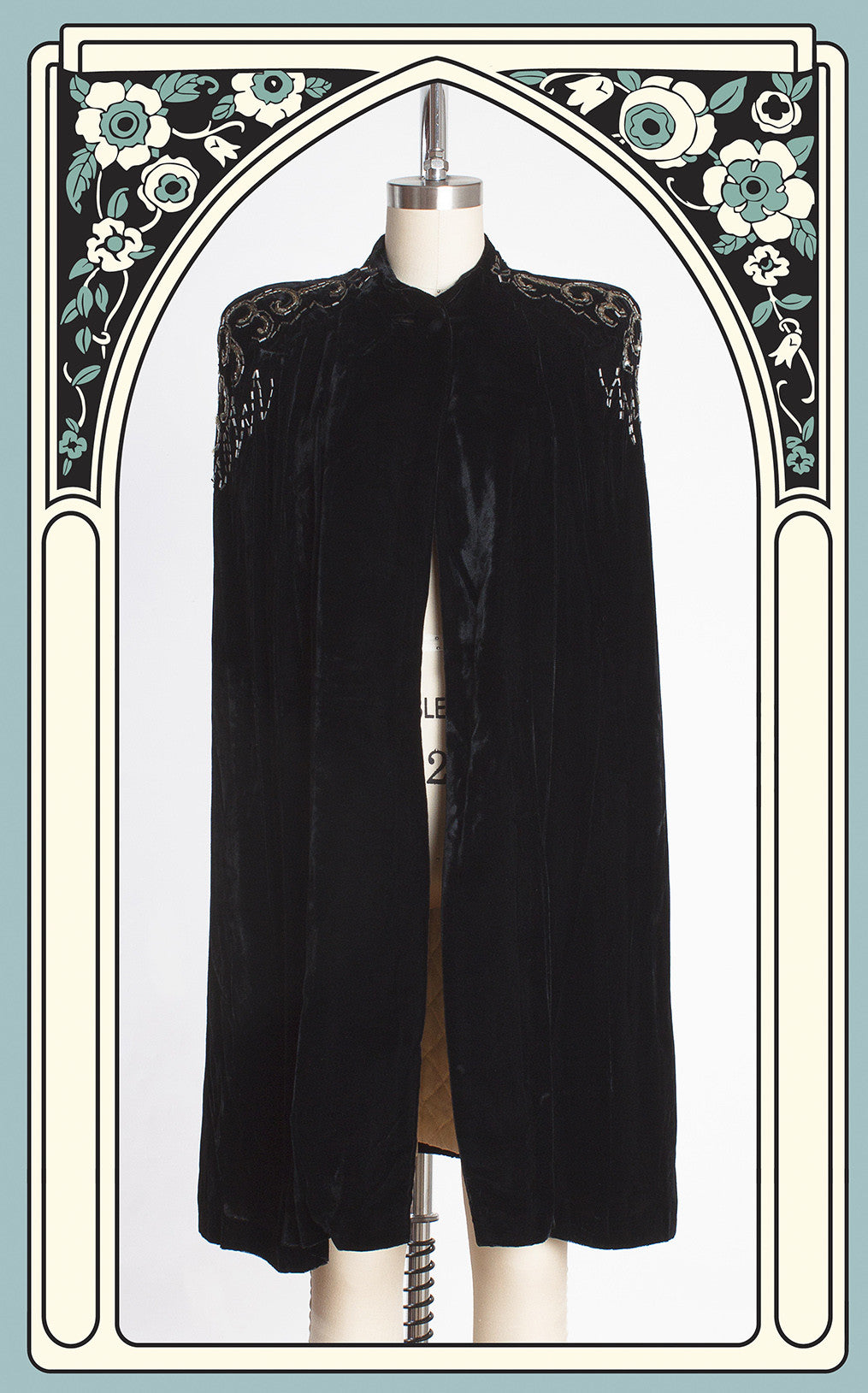 Late 1930s Silk Velvet Opera Cape with Beaded & Sequined Shoulders