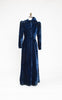 SOLD -- 1930s Midnight Blue Old Hollywood Silk Velvet Hooded Opera Coat