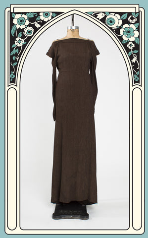 1930s Old Hollywood Brown and Metallic Gold Bias Cut Off-Shoulder Evening Gown