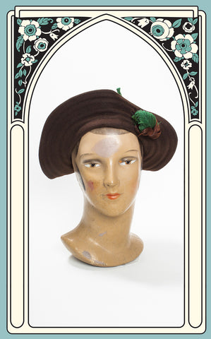 1930s Garden Lane Chocolate Ribbed Wool Hat