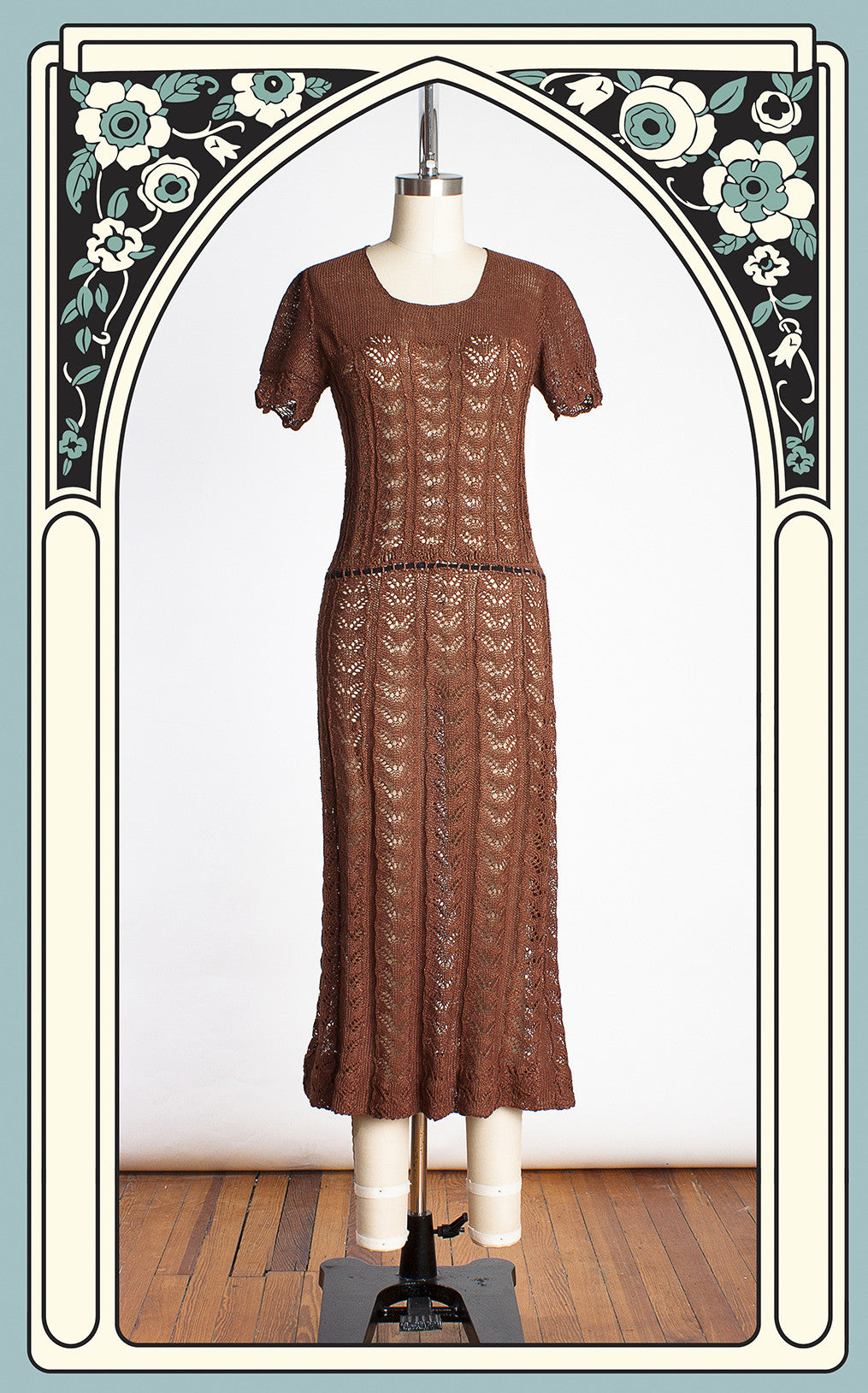 1930s Brown Knit Crocheted Short Sleeve Dress