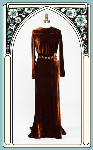 1930s Copper Silk Velvet Evening Gown with Coin Accents