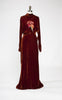 SOLD -- 1930s Rust Orange Silk Velvet Evening Gown with Matching Hat