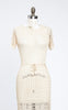 Beautiful 1930s Ivory Silk Acetate Crocheted Dress with Tasseled Belt