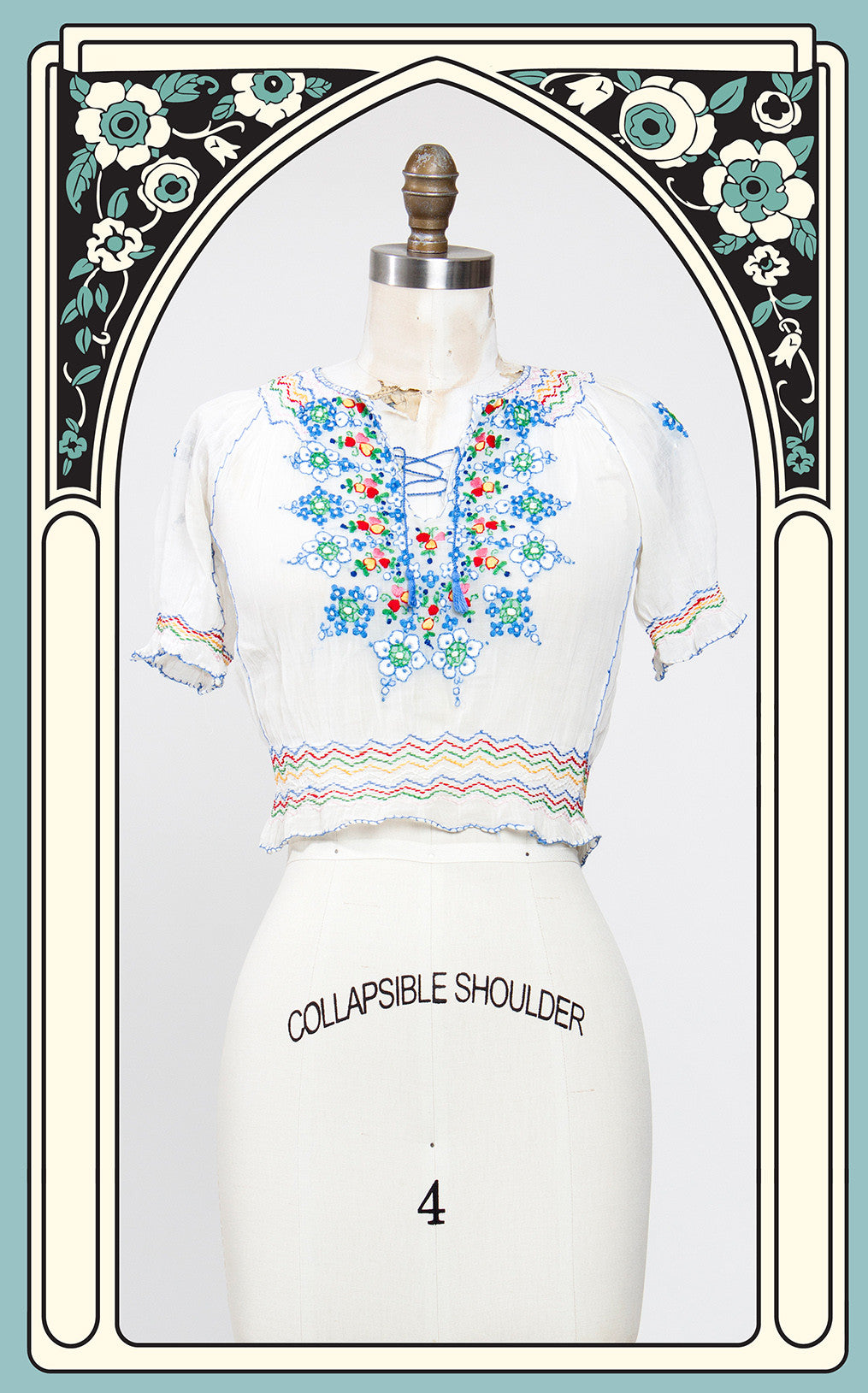 SOLD -- Beautiful 1930s Hand Embroidered Cotton Peasant Blouse