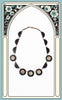 1930s Black Celluloid Necklace with Floral Insets