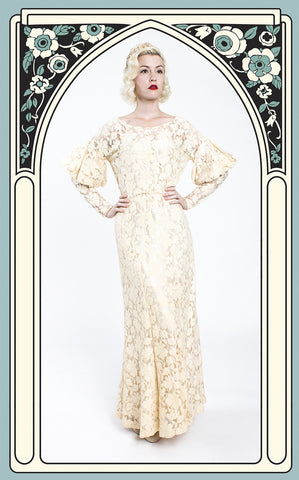 Early 1930s Ivory Drop Shoulder Lace Wedding Dress with Juliet Sleeves
