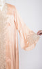 SOLD -- 1920s Peach Silk and Ecru Floral Lace Robe