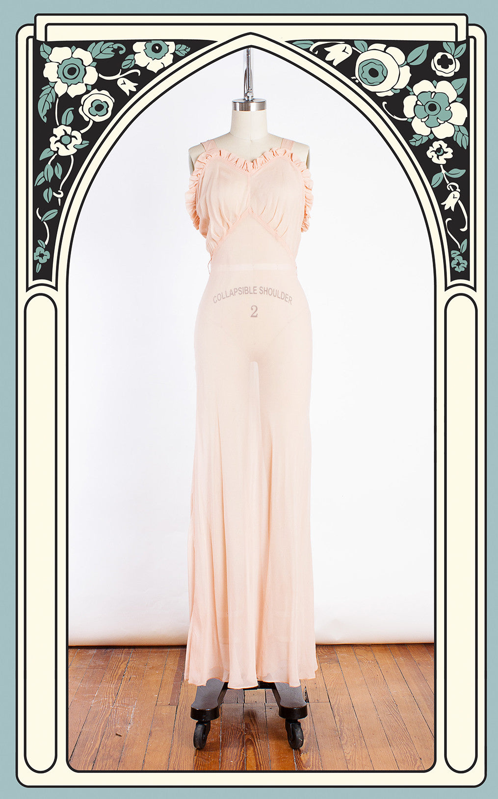 1930s Slinky Sheer Ruffled Peach Silk Chiffon Gown