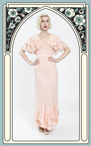 1930s Dreamy Peach Silk Chiffon Garden Party Gown with Ruffled Capelet