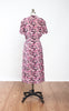 1930s Vibrant Fuchsia Floral Liquid Silk Day Dress