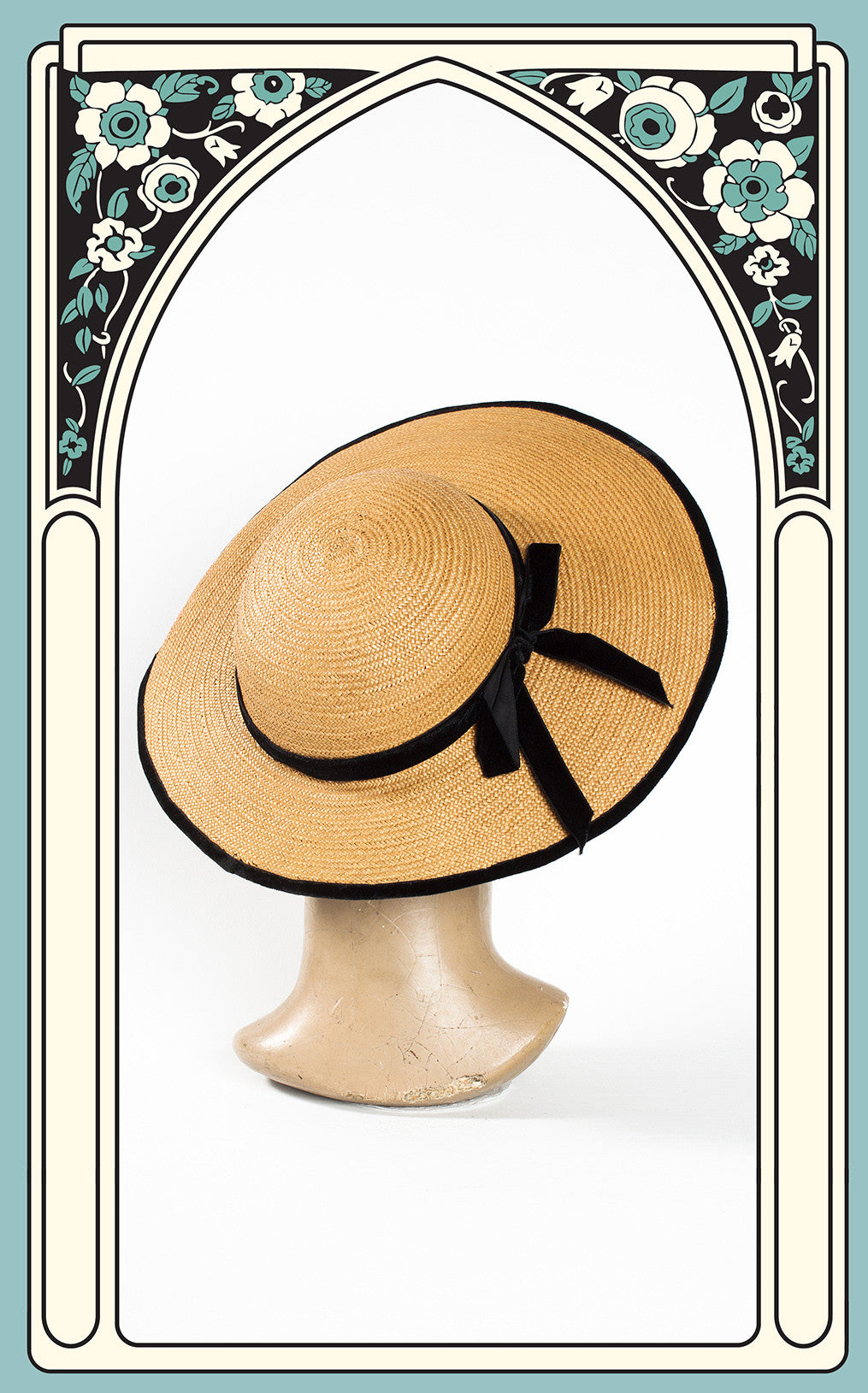 SOLD -- 1930s Wide Brim Summer Straw Hat with Velvet Trim