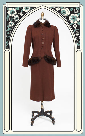 1930s Milgrim Mink-Trimmed Wool Dress Suit - Very Old Hollywood!