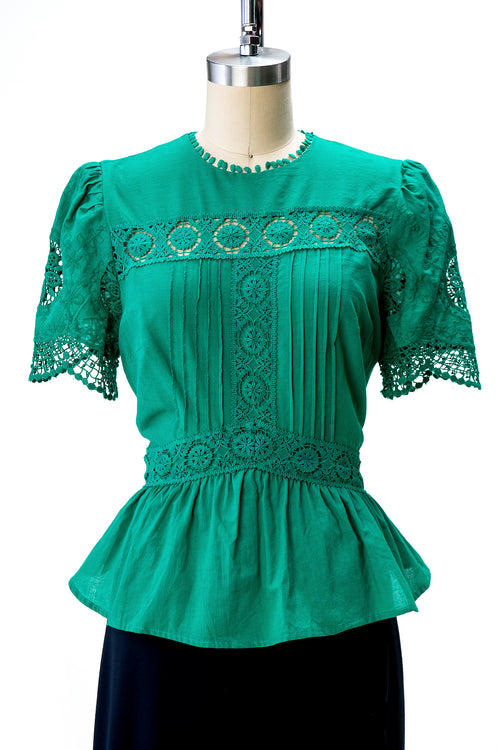 Embroidered Cotton Peplum Blouse (2 Colors)