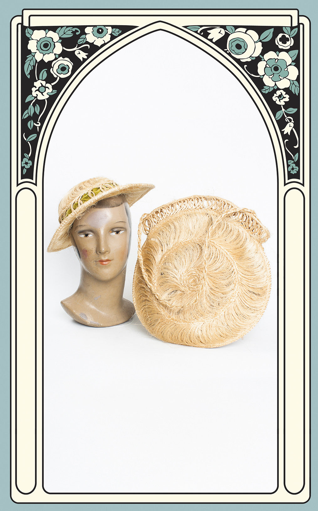 1940s Woven Grass Hat & Matching Handbag