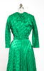 1940s Peer Emerald Satin Brocade Hostess Gown