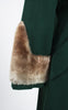 SOLD -- 1940s Green Wool Princess Coat with Faux Fur Collar and Cuffs