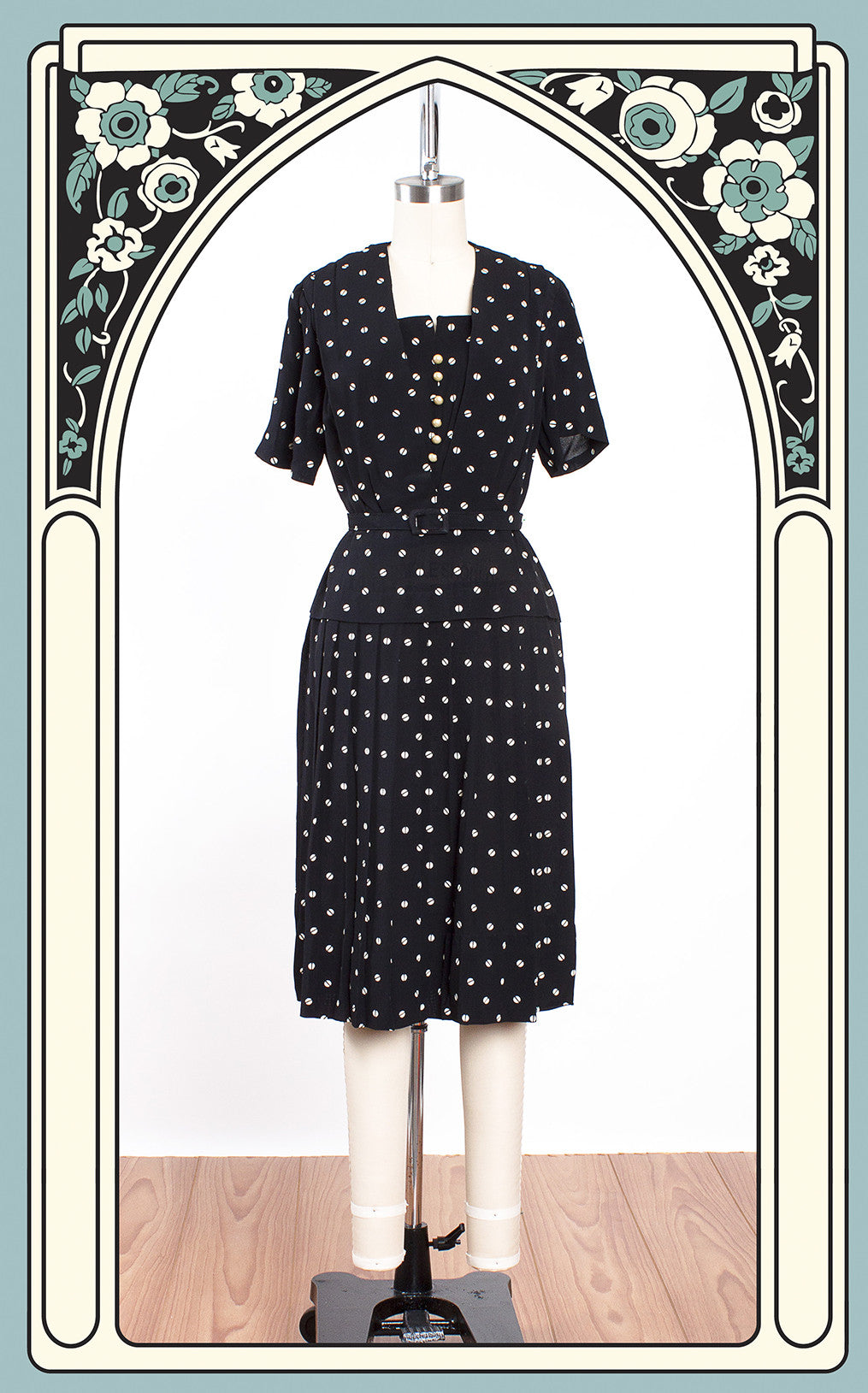 1940s Rayon Blend Black & White Polka Dot Dress
