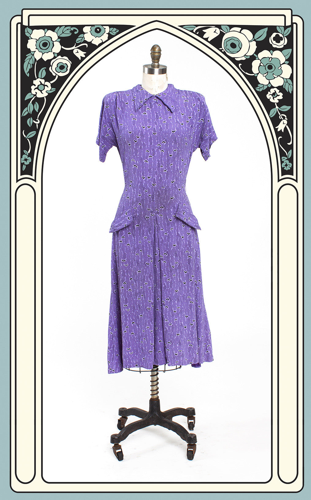SOLD -- 1940s Purple Rayon Print Day Dress