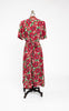 1940s Homemade Cold Rayon Floral Wrap House Dress