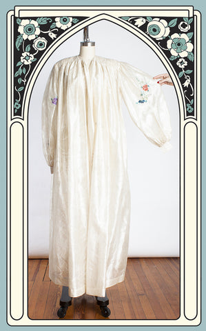 1940s Does Victorian Embroidered & Smocked Sheer Bamboo Print Rayon Dressing Gown