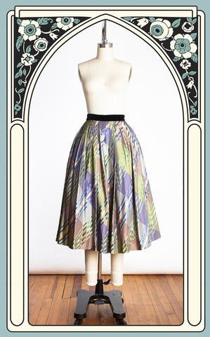 1950s Jo Collins Metallic Silk Plaid Taffeta Swing Skirt