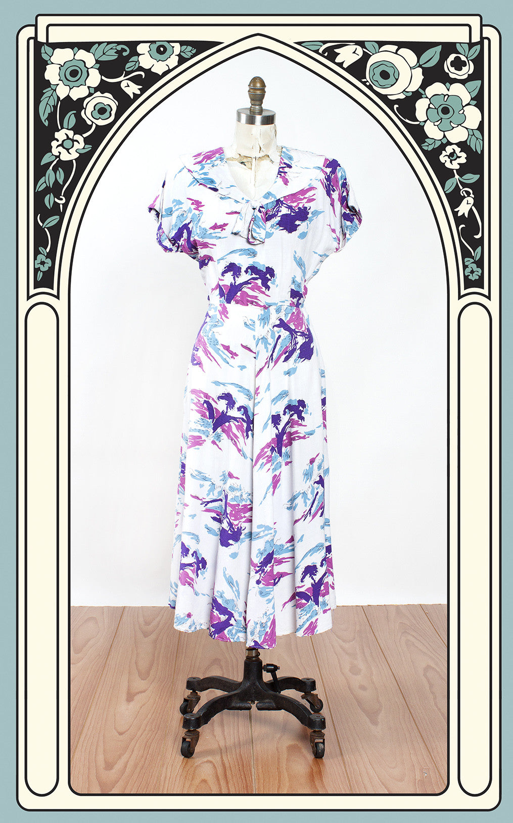 SOLD -- 1940s Summer Sunset Tree Print Cotton Novelty Dress