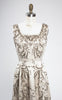 SOLD -- 1950s Metallic Embroidered and Rhinestoned Silk Cocktail Evening Dress