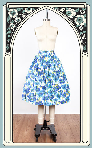 1950s Blue Floral Watercolor Cotton Skirt