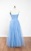 Dreamy 1950s Cascading Blue Tulle Formal Prom Party Gown
