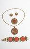 1960s Egyptian Revival Necklace, Bracelet, Earrings & Brooch Set