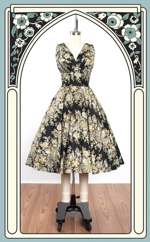 1950s Bombshell Floral Cotton Swing Dress with Gold Sequin Trim & Matching Wrap
