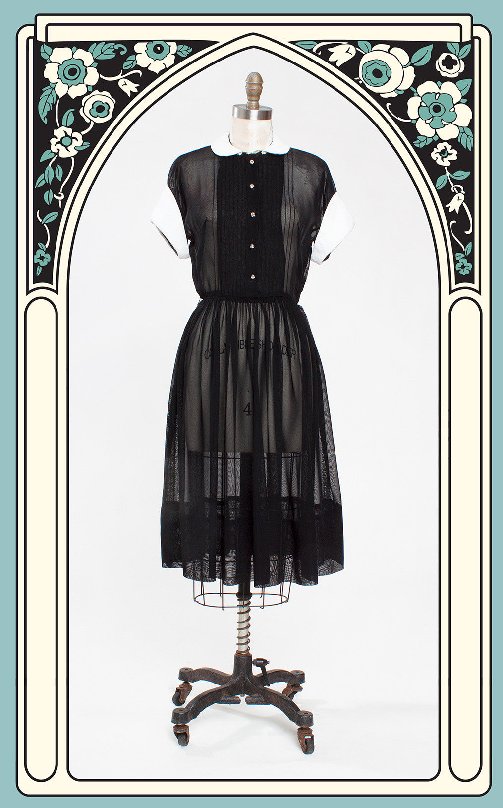 1950s Georgette Black Nylon Wednesday Addams Dress with White Pique Collar & Cuffs