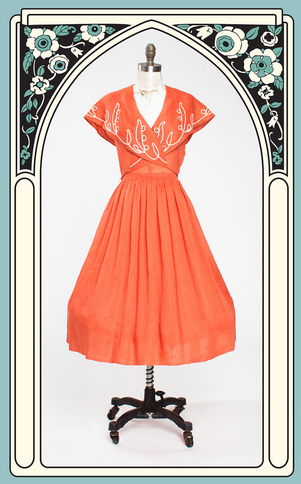 SOLD -- 1950s Orange Cotton Dimity Wrap Front Day Dress with Rickrack