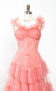 1950s Frilly Coral Tulle Cupcake Formal Prom Party Gown