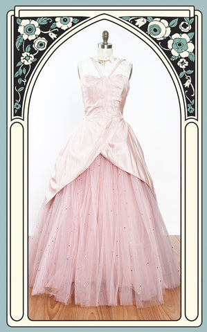 RESERVED - 1950s Will Steinman Original Silk & Sequin Tulle Formal Prom Party Dress