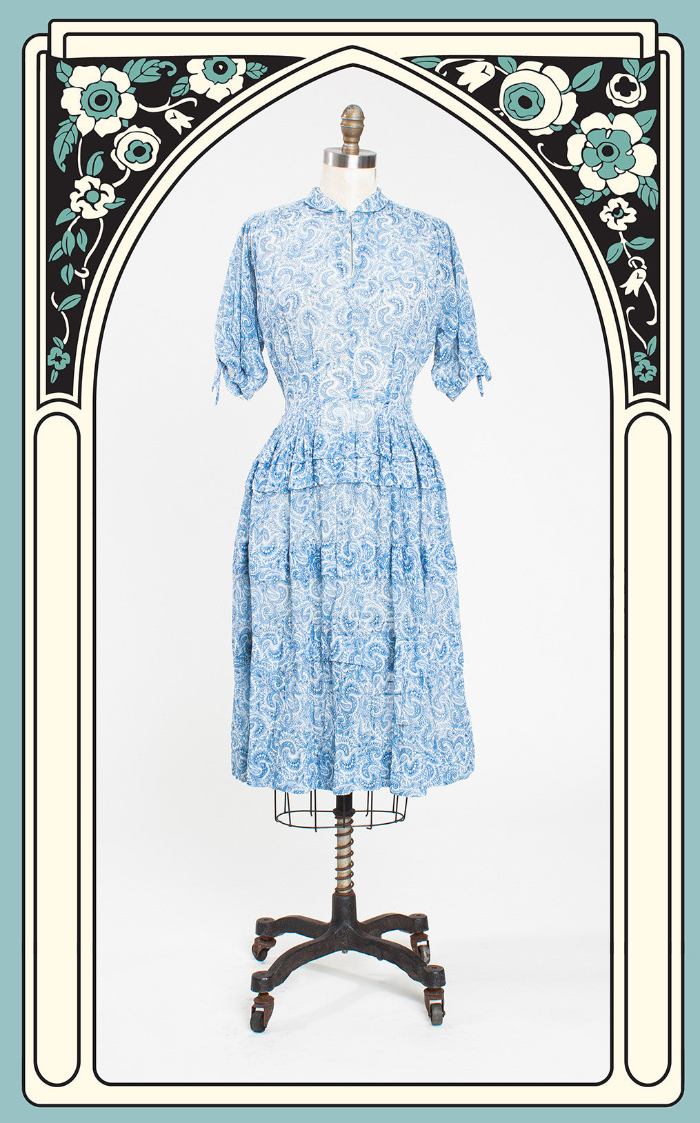 SOLD -- 1940s R&K Original Paisley Ruffled Sheer Cotton Day Dress