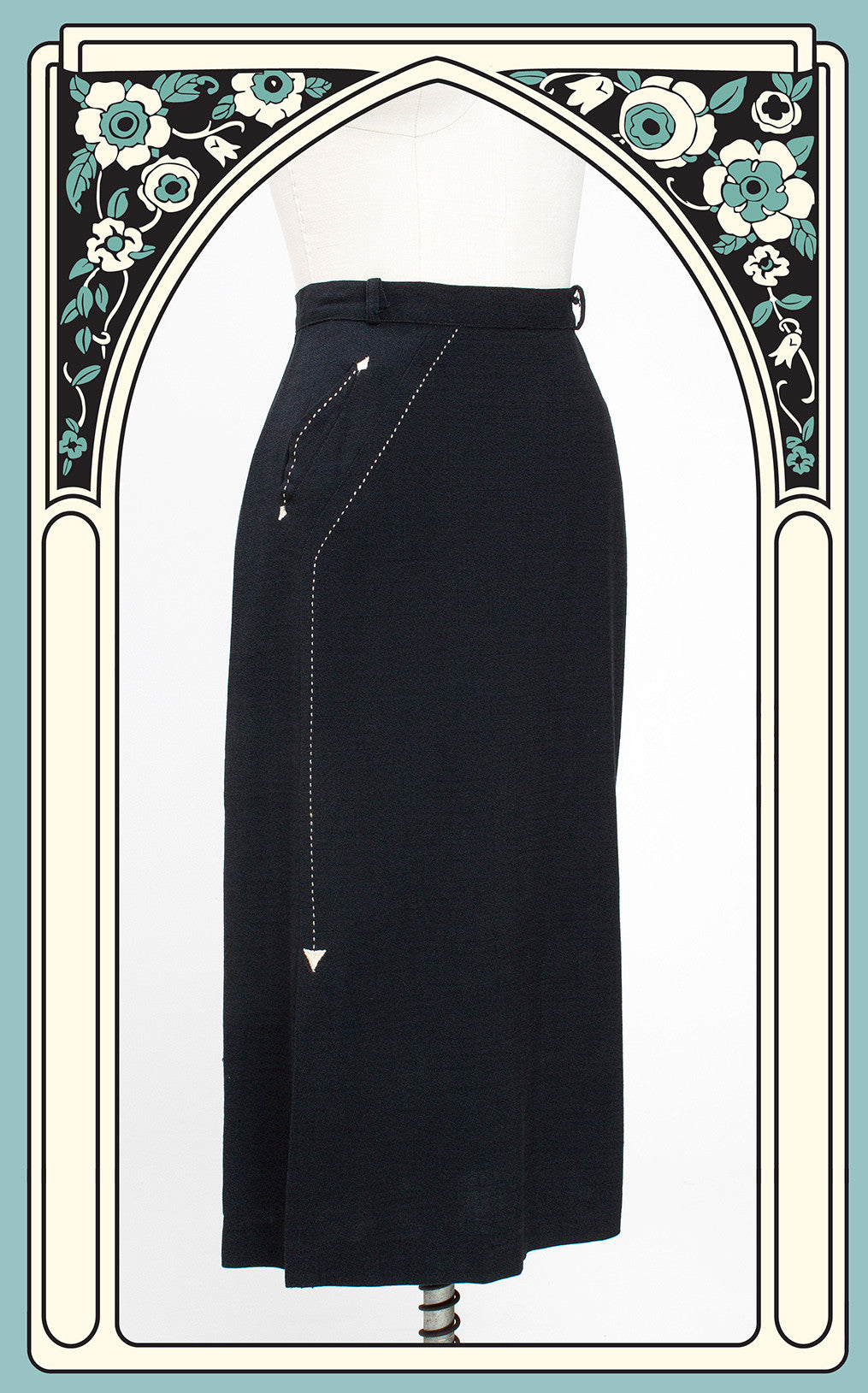 1950s Western Slim Fitted Pencil Skirt with Contrasting Arrow Detailing