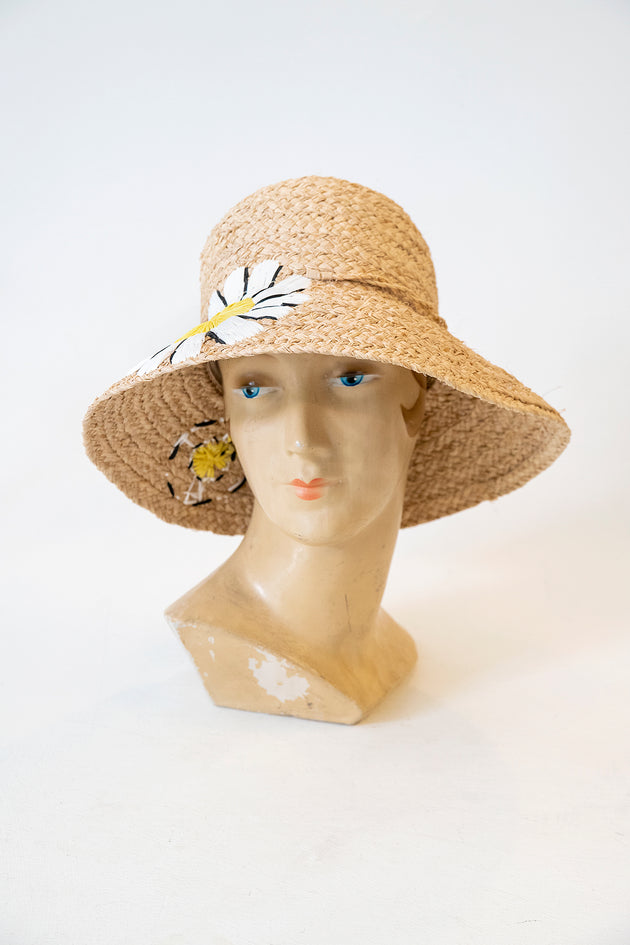 1960s Style Mod Daisy Cloche Hat