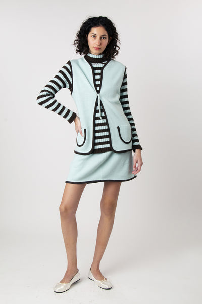 Vintage 1960s Ami Jr. Mod Three Piece Striped Knit Set